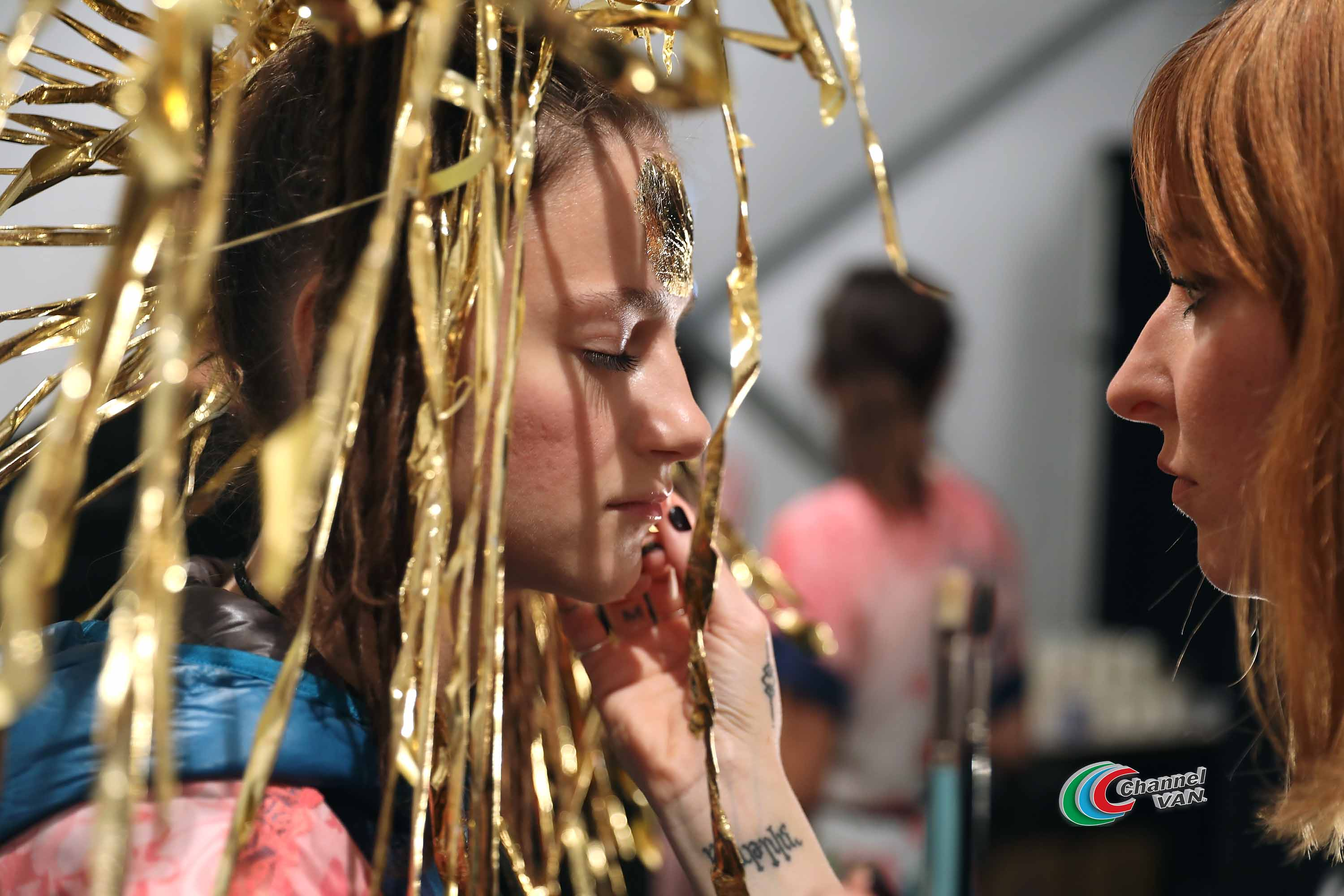NEW YORK, NY - SEPTEMBER 07:  A model prepares backstage for Desigual fashion show during New York Fashion Week: The Shows at Gallery 1, Skylight Clarkson Sq on September 7, 2017 in New York City.  (Photo by Anna Webber/Getty Images For Desigual )