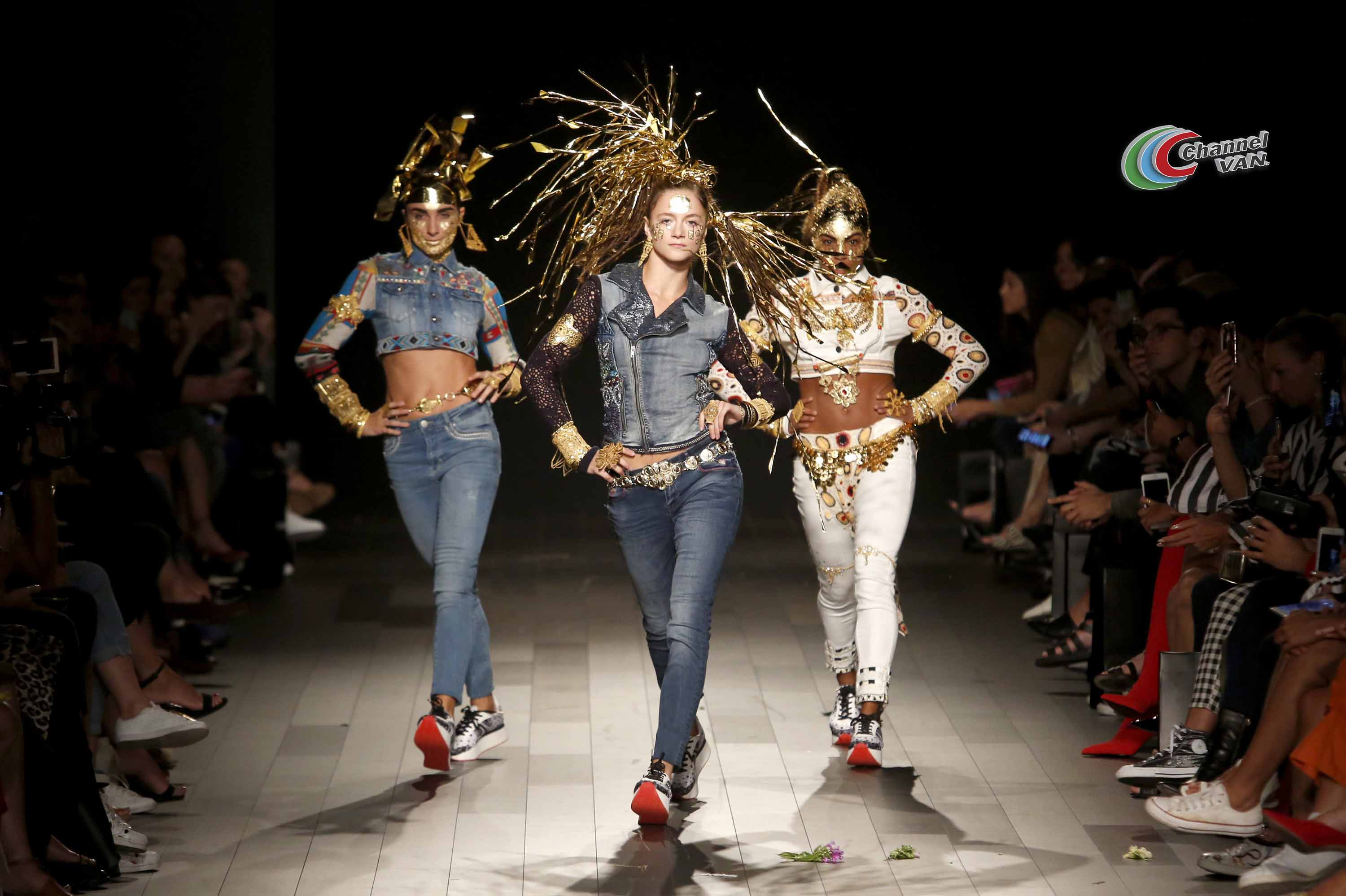NEW YORK, NY - SEPTEMBER 07:  A model walks the runway for Desigual fashion show during New York Fashion Week: The Shows at Gallery 1, Skylight Clarkson Sq on September 7, 2017 in New York City.  (Photo by Thos Robinson/Getty Images For Desigual )