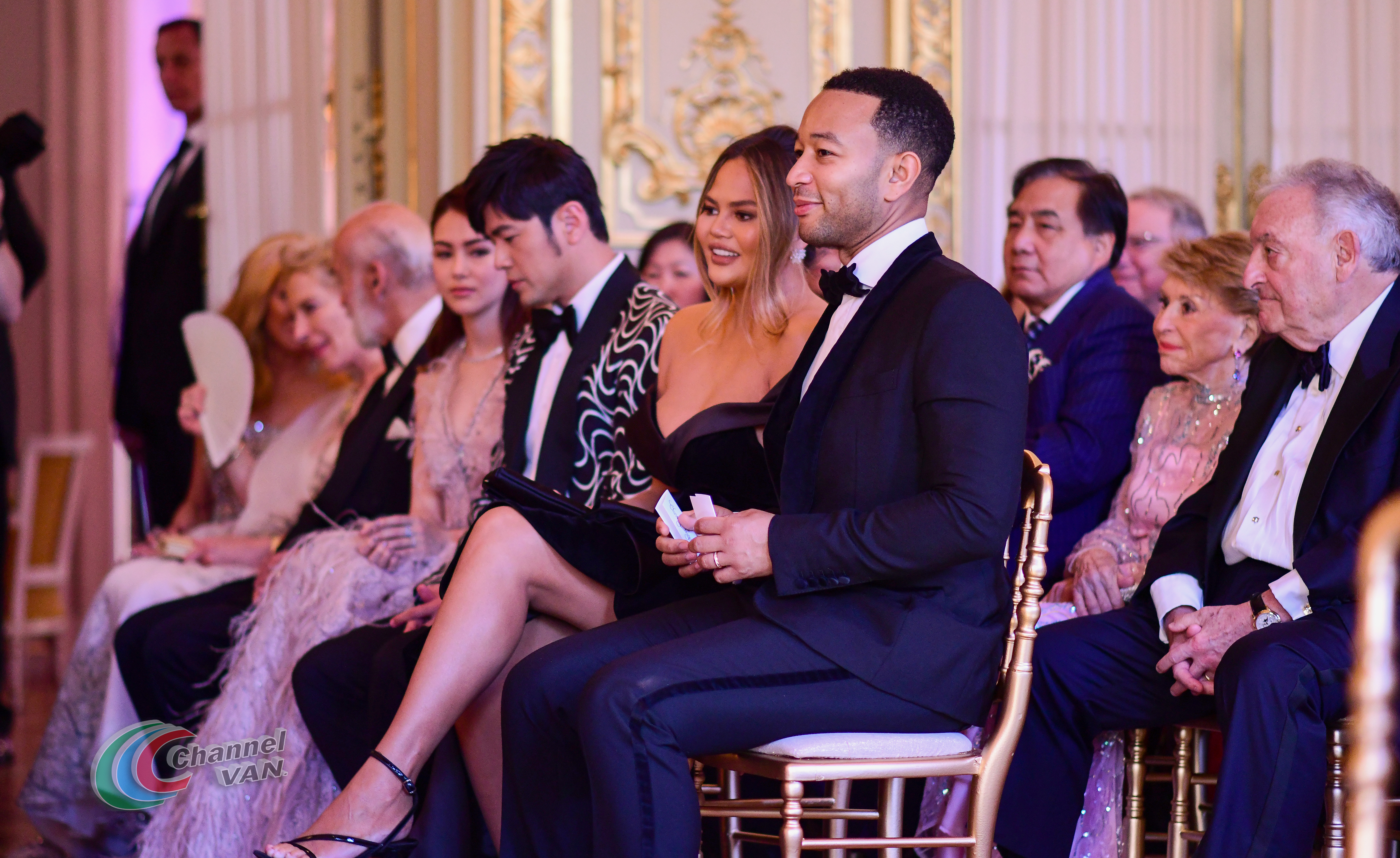 PARIS, FRANCE - JUNE 02: (4L-R) Hannah Quinlivan, Jay Chou, Chrissy Teigen and John Legend attend Pianists Lang Lang & Gina Alice Cocktail Wedding at Hotel Shangri-La on June 02, 2019 in Paris, France. (Photo by Anthony Ghnassia/Getty Images for Moet Henessy)