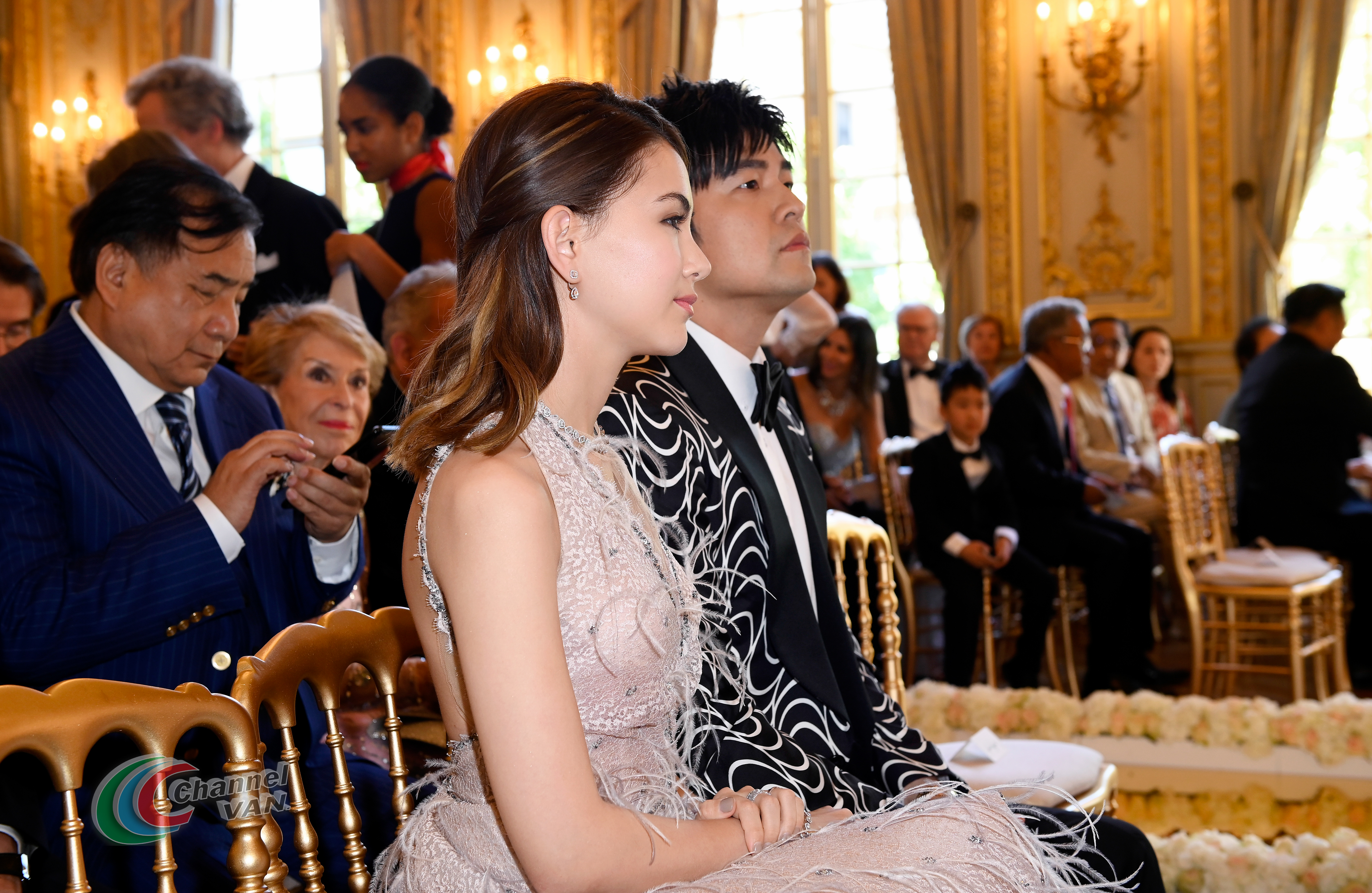 PARIS, FRANCE - JUNE 02: Jay Chou and Hannah Quinlivan attend Pianists Lang Lang & Gina Alice Cocktail Wedding at Hotel Shangri-La on June 02, 2019 in Paris, France. (Photo by Kristy Sparow/Getty Images for Moet Hennessy)