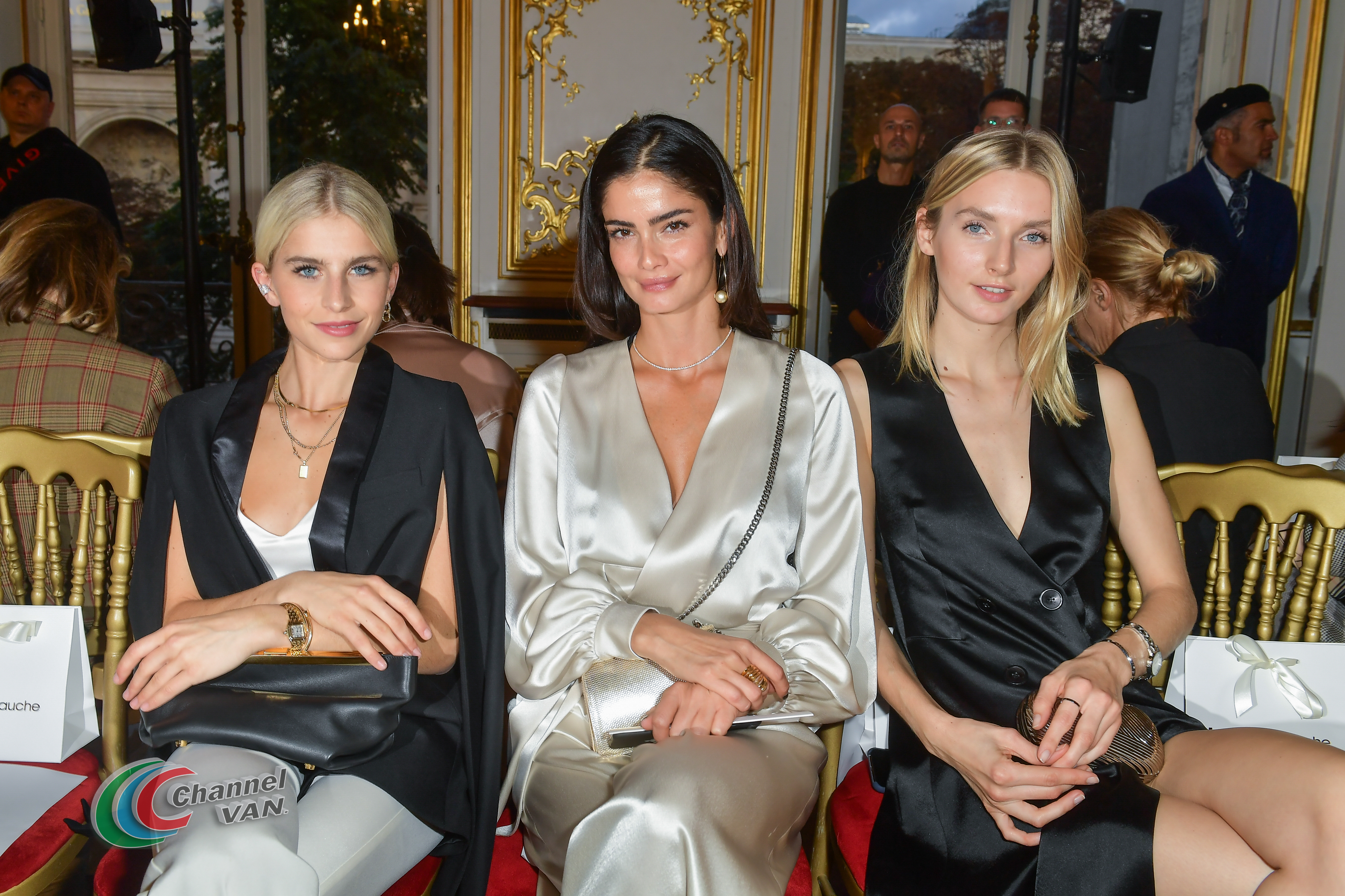 "PARIS, FRANCE - SEPTEMBER 27: Caro Daur , Shermine Sharivar and Eva Staudinger attend the Kaviar Gauche ""10 Years Bridal Couture"" Paris Fashion Week SS20 show as part of Paris Fashion Week on September 27, 2019 in Paris, France. (Photo by Dominique Charriau/Getty Images)"