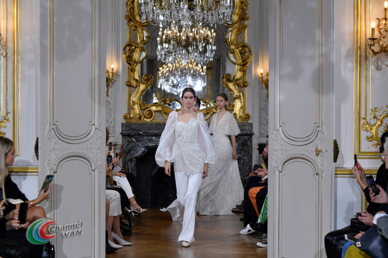 """PARIS, FRANCE - SEPTEMBER 27: Models walk the runway during the Kaviar Gauche""""10 Years Bridal Couture"""" Paris Fashion Week SS20 show as part of Paris Fashion Week on September 27, 2019 in Paris, France. (Photo by Kristy Sparow/Getyty Images for Kaviar Gauche)"""